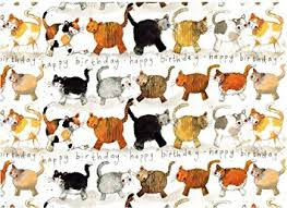 cat wrapping paper alex clark cats happy birthday gift wrapping paper