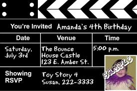 movie clapper birthday invitations