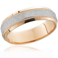 two tone mens wedding bands 14k gold platinum two tone hammered mens wedding band