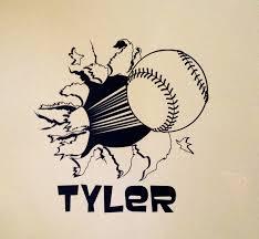 baseball softball bursting through wall vinyl wall decal