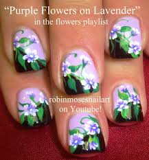 purple flower nail art design tutorial youtube