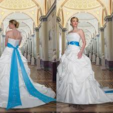 white wedding dress with royal blue sash 2014 royal blue and white embroidery cheap plus size wedding