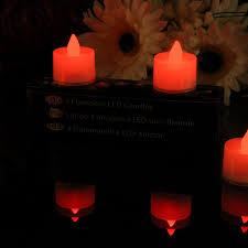 led tea lights battery life set of 4 red led candles battery powered tea lights