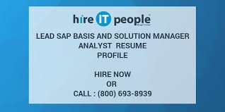 Sap Basis Resume 5 Years Experience Lead Sap Basis And Solution Manager Analyst Resume Profile Hire