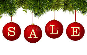 sale banner advertisement baubles with pine branches