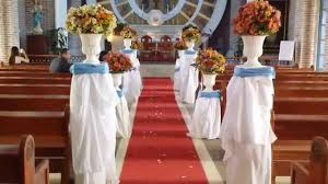 wedding church decoration after preparation and decoration