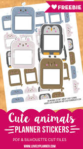 163 best stickers images on pinterest happy planner planner free printable cute animal planner stickers for your planner pdf and silhouette cut file