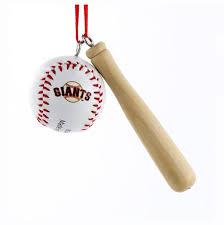 mlb sf giants wooden bat with baseball ornament kurt s adler