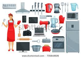 Microwave And Toaster Set Home Appliance Kitchenware Vector Set Refrigerator Stock Vector