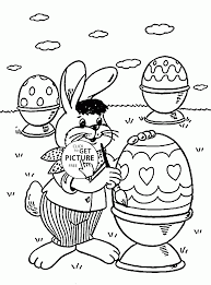 easter bunny with eggs coloring page for kids coloring pages