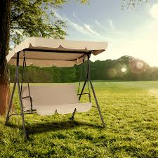 Outdoor Swing With Canopy Ikayaa 3 Seat Cushioned Outdoor Patio Garden Swing Chair