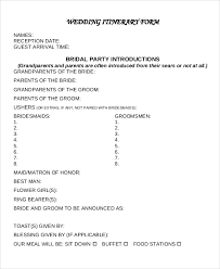 Wedding Itinerary Template For Guests Sample Wedding Itinerary 6 Documents In Pdf