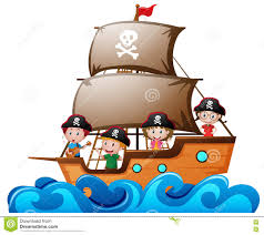 four kids playing pirate in the ship stock vector image 81887310