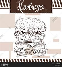 fast food poster with hamburger hand draw retro illustration