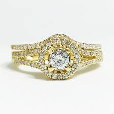 real diamond engagement rings 14k yellow gold 0 73 ctw halo diamond engagement ring bridal set