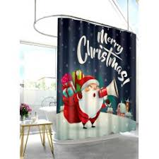 wholesale christmas santa with gifts print waterproof shower