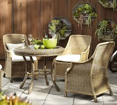 pottery barn bistro table saybrook all weather wicker round fixed bistro table chair set