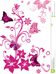 pink butterflies on flowers on white stock vector illustration of