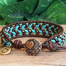 beaded leather cuff bracelet images Beaded leather single wrap and cuff bracelets pjs pretty 39 s n%3D1