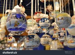 glass ornaments market stock photo