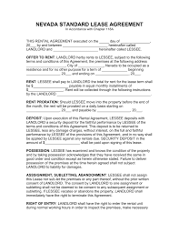 free nevada standard residential lease agreement template pdf