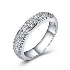shotgun wedding ring 3 lines micro paved sterling silver jewerly band ring semi mount