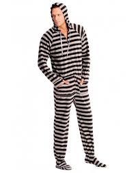 black and grey striped footed pajamas