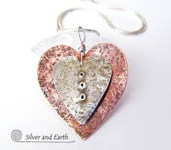 metal heart necklace images Nesting heart necklace with sterling silver copper romantic jpg