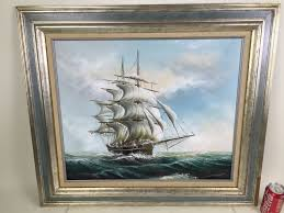 original oil painting of large sailing ship on rough seas signed by artist hayden photo