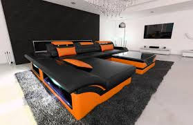 sofa dreams design sectional sofa monza l shaped leathersofa with led lights