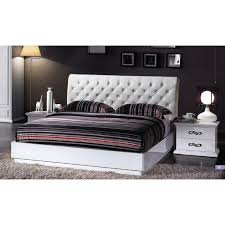 glamorous white lacquered bedroom set with button tufted headboard