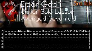 tutorial gitar dear god dear god guitar solo lesson avenged sevenfold with tabs youtube
