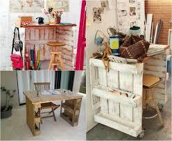 idee deco bureau travail diy bricolage bureau en bois palettes tabouret bar deco murale