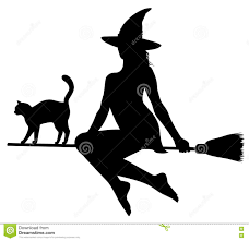 Cat Silhouette Halloween Black Silhouette Of Witch And Cat On Broomstick Stock Vector