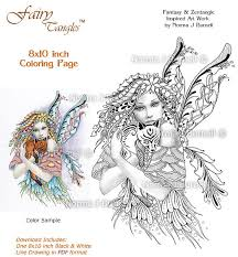 foxie fairy tangles printable coloring sheets fairytangleart