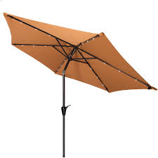 Solar Patio Table Lights by 9 Ft Nutmeg Tan Outdoor Market Solar Powered Patio Umbrella With