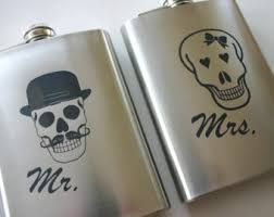 his and hers flasks mr and mrs skull etsy