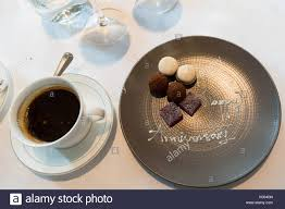 celebration plate 40th anniversary celebration plate of truffles with black coffee at