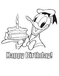 donald duck happy birthday cake coloring u0026 coloring pages
