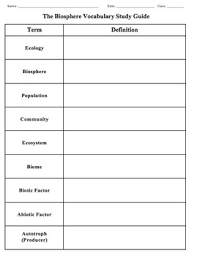 biology chapter 3 the biosphere vocabulary study guide tpt