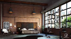 bedroom industrial style bedroom with regal red exposed brick