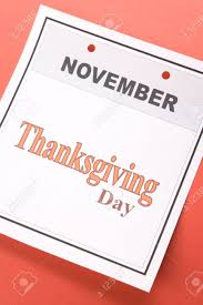 thanksgiving day calendar date in november for background stock