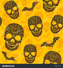 happy halloween background images vector seamless pattern skulls bats happy stock vector 157307510