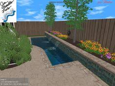 small pool and spa integrated in tight backyard with outdoor patio