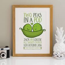 personalised wedding print peas in a pod by a is for alphabet
