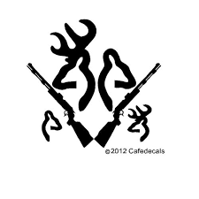browning tattoo inch deer buck doe with rifle and babies decal