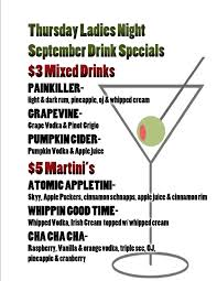 martini price september ladies night drink specials happy hour 4 6pm 1 2