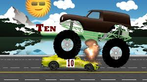 videos of monster trucks crushing cars monster trucks teaching children to count and crushing cars youtube