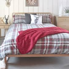 Brushed Cotton Duvet Covers Kilburn U0026 Scott Skye Grey U0026 Red Check 100 Brushed Cotton Duvet