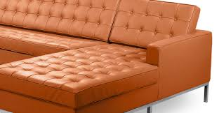 Sofa Lengths Florence Right Sectional Luxe Camel Leather Kardiel